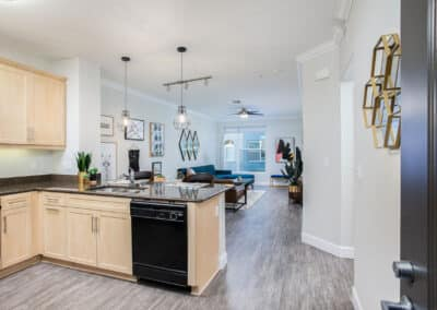 Furnished kitchen with view of living room