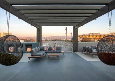 rooftop with scenic view at sunset