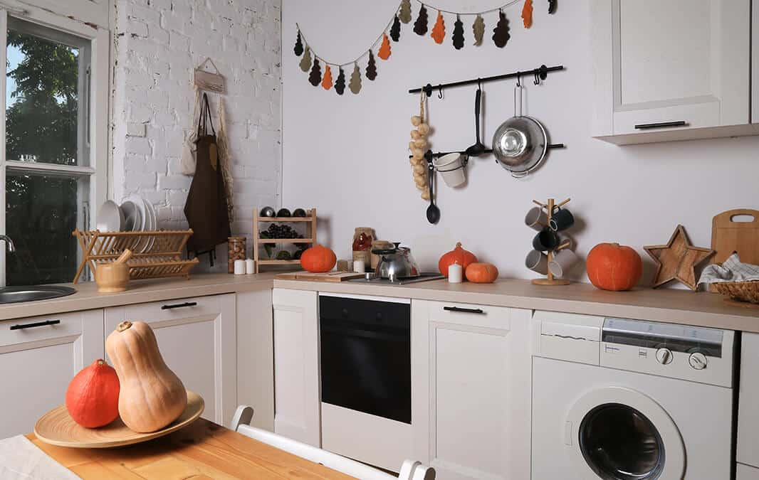 white kitchen with halloween decorations