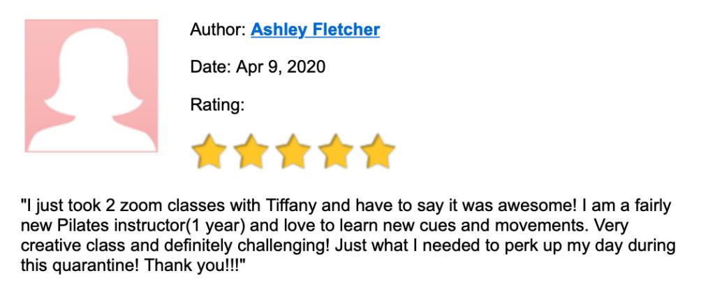 Tiffany Burke Pilates Customer Review 1