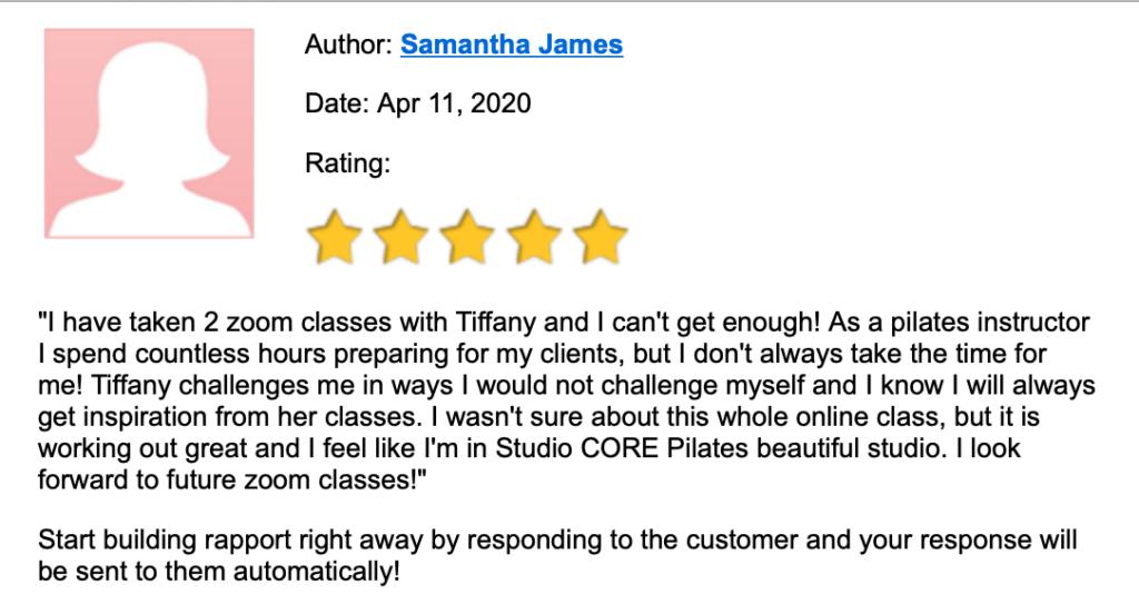 Tiffany Burke Customer Review 1