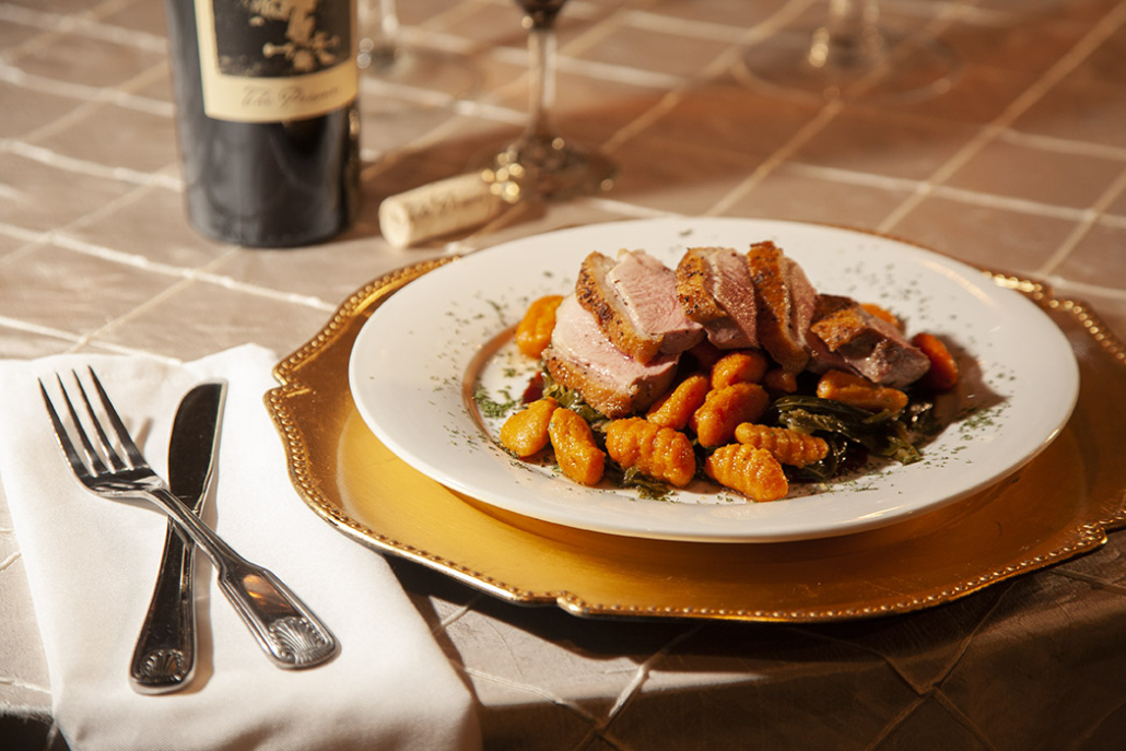 Roasted Duck Breast with Sweet Potato Gnocchi by Toulouse Gourmet Catering