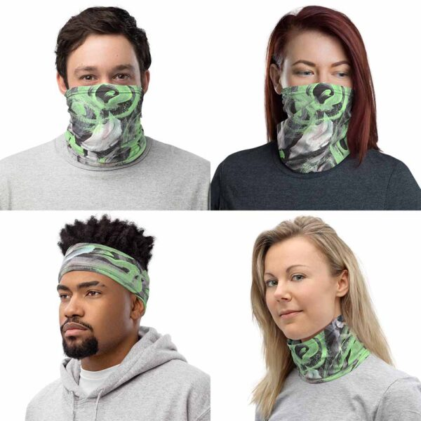 Polar Lights Multipurpose Face Mask can be use as face covering, headband, and neck warmer. Polar Lights Face Covering has an original design by Bash Art in green, white and black.