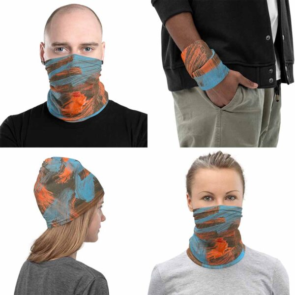 Four images of multipurpose Volcano Face Mask, by Bash Art. The colorful piece combines shades of red and blue. The piece can be use as face covering, wristband, beanie and face mask.