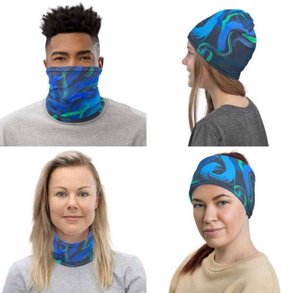 Image shows multipurpose uses of Glitzy Beetles Face Mask, by Bash Art. First image shows its use as face covering, second as a beanie, third as neck warmer and fourth as headband.
