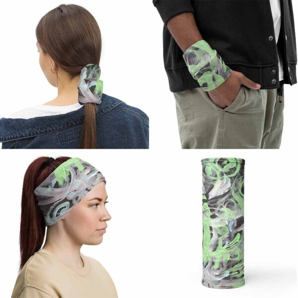 Polar Lights Multipurpose Face Mask can be use as headband, wristband, and bandana. Polar Lights Face Covering has an original design by Bash Art in green, white and black.