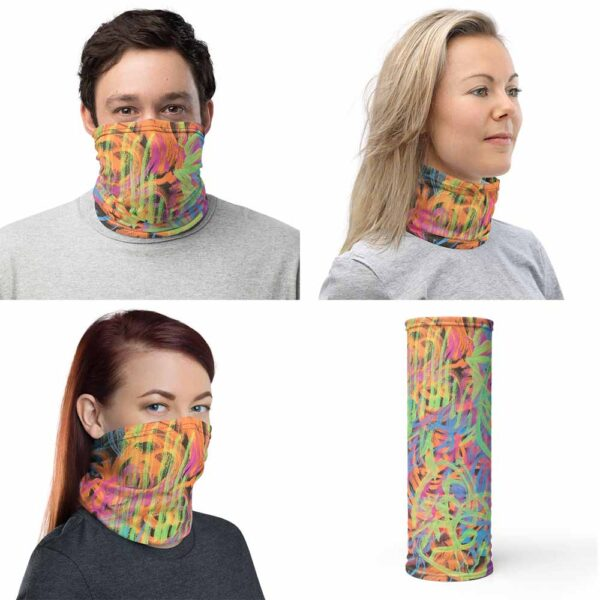 Four images of multipurpose Efflorescent Face Mask, by Bash Art. The colorful piece combines shades of orange, green, blue, yellow and black composing a beautiful aquarela of colors. The piece can be use as face covering, as shown in image one and three, and as neck warmer, in picture two. Last image shows the face mask cylindrical shape.