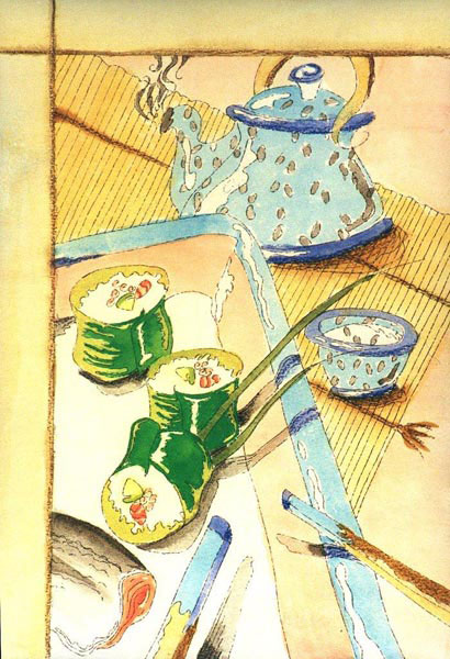 sushi with tea