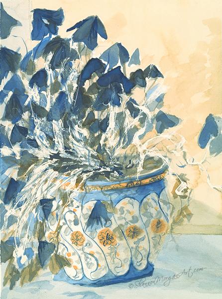017 Blue Plant, Blue Pot