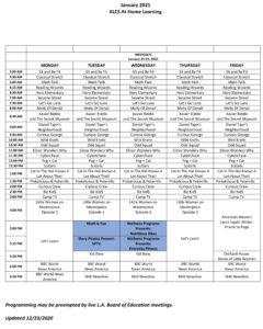 April 2021 Schedule