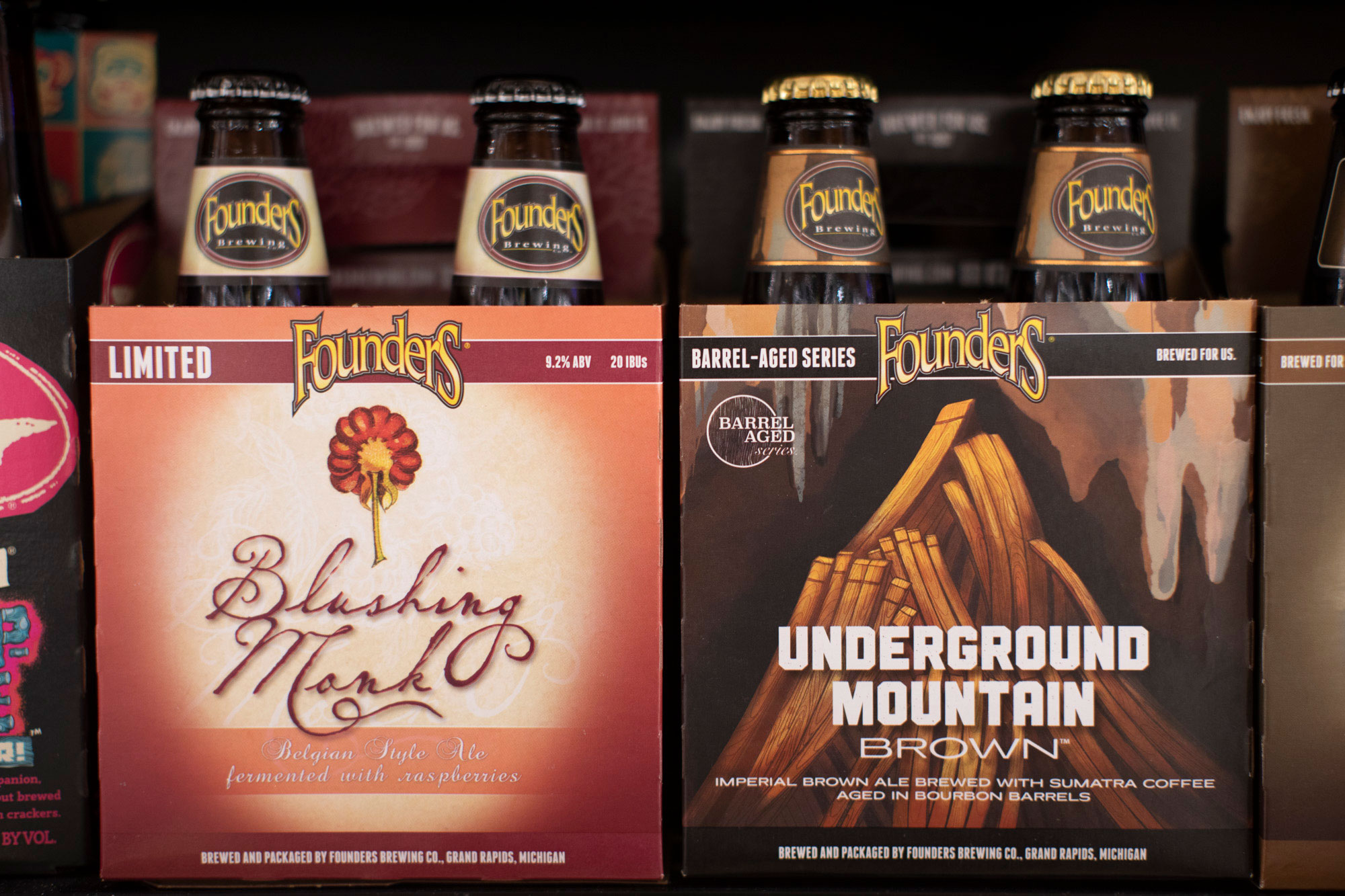 founders craft beer on a shelf