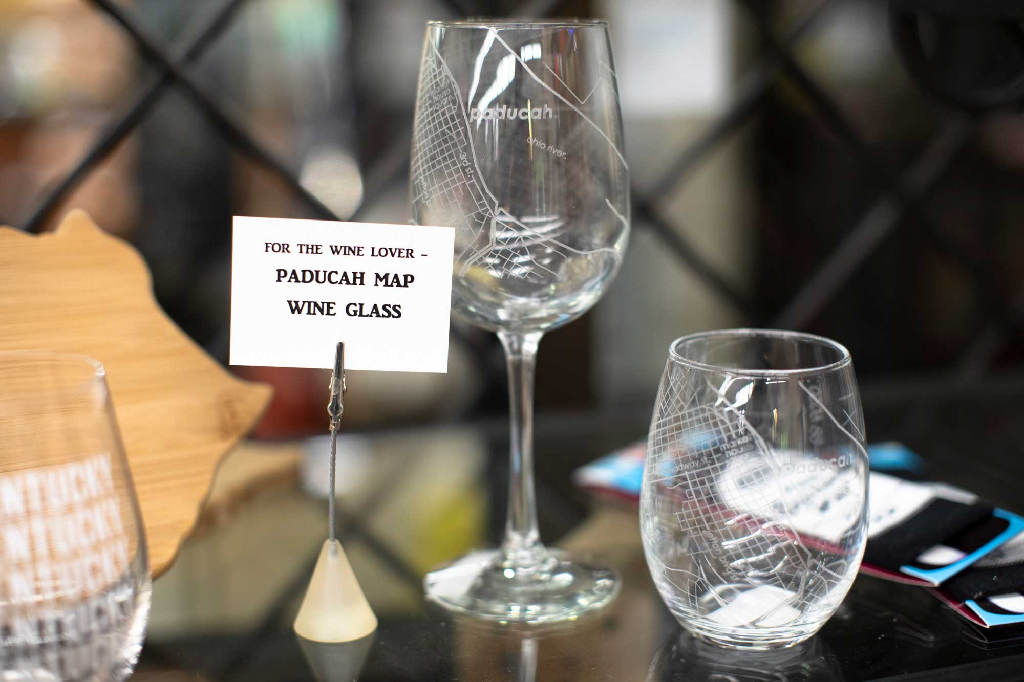 Paducah road map wine glass and short glass