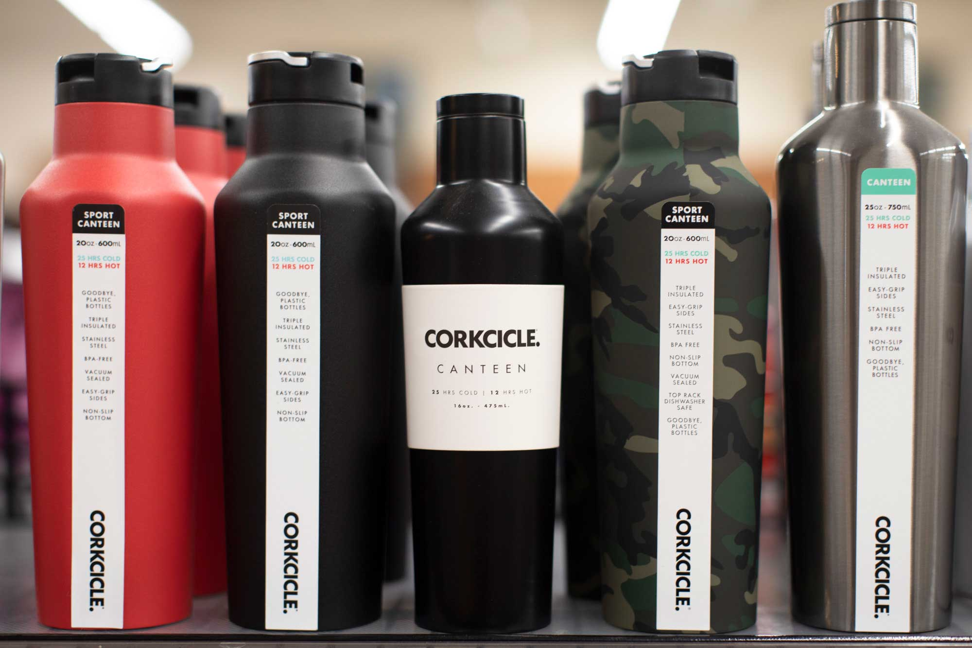 Corkcicle thermoses on a shelf