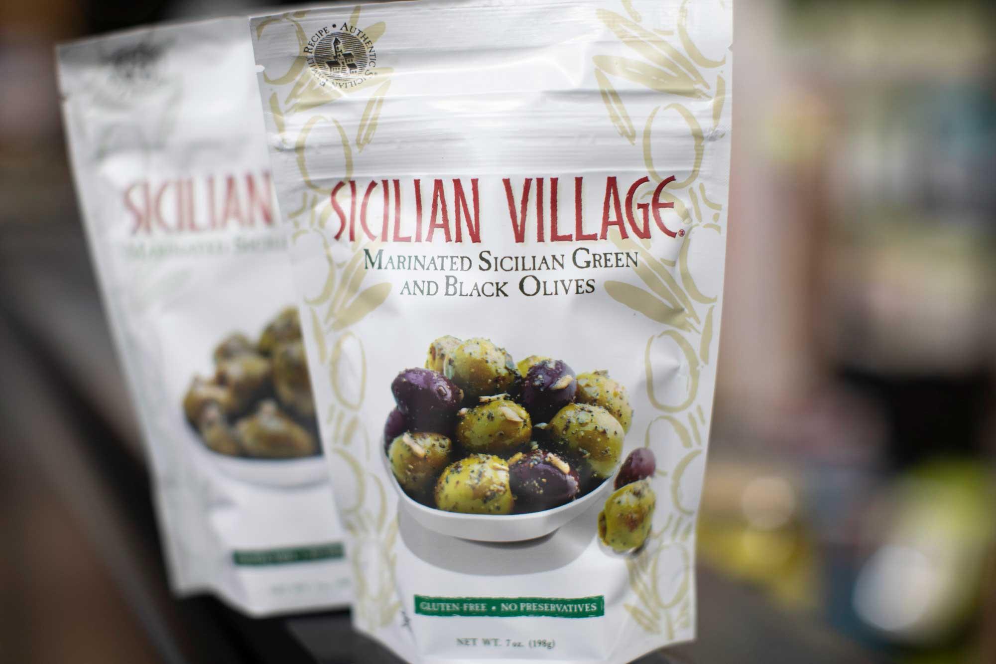 Sicilian Village green and black olives