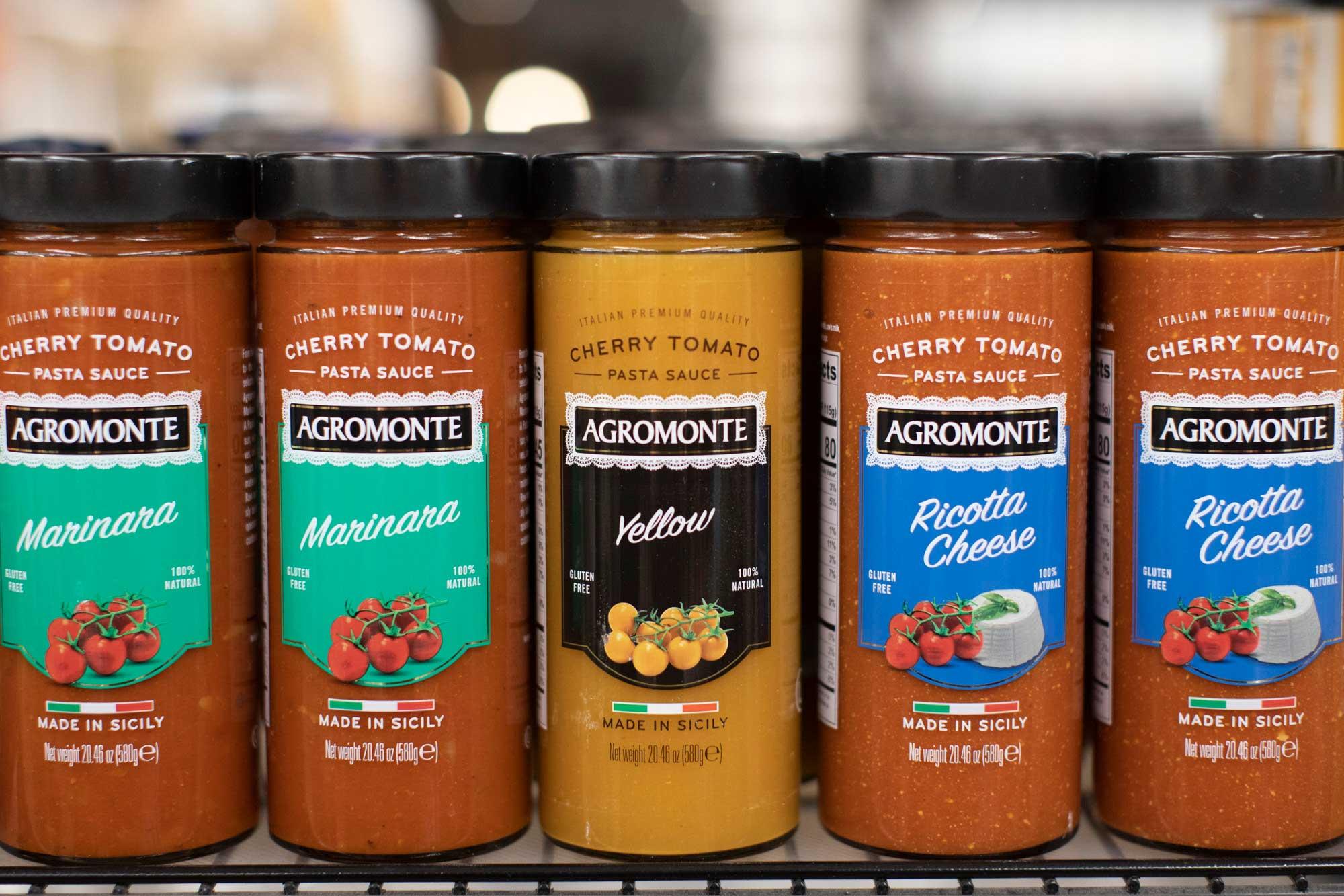 Agromonte Sauces on a shelf