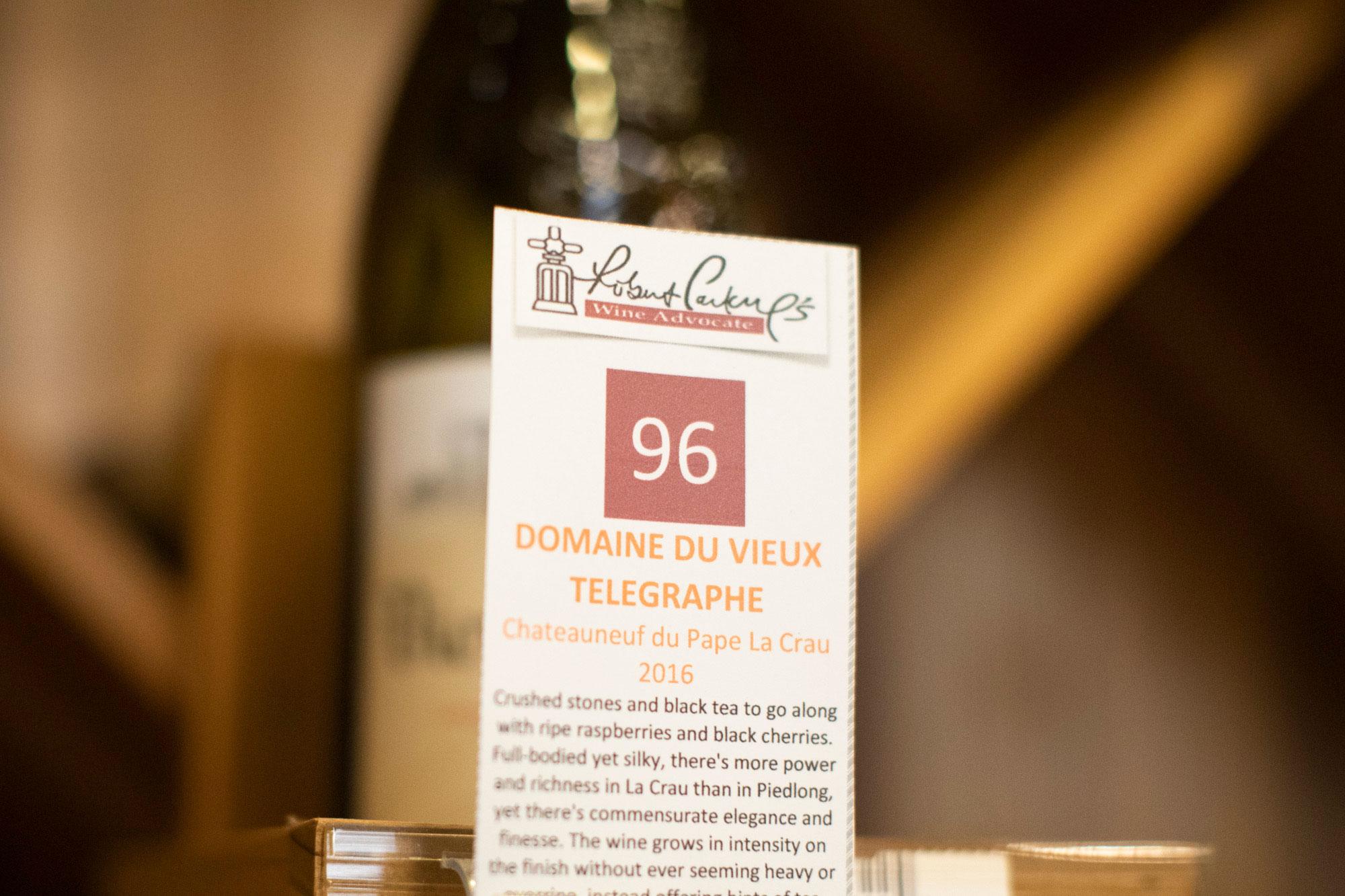close up of the shelf talker wine information label