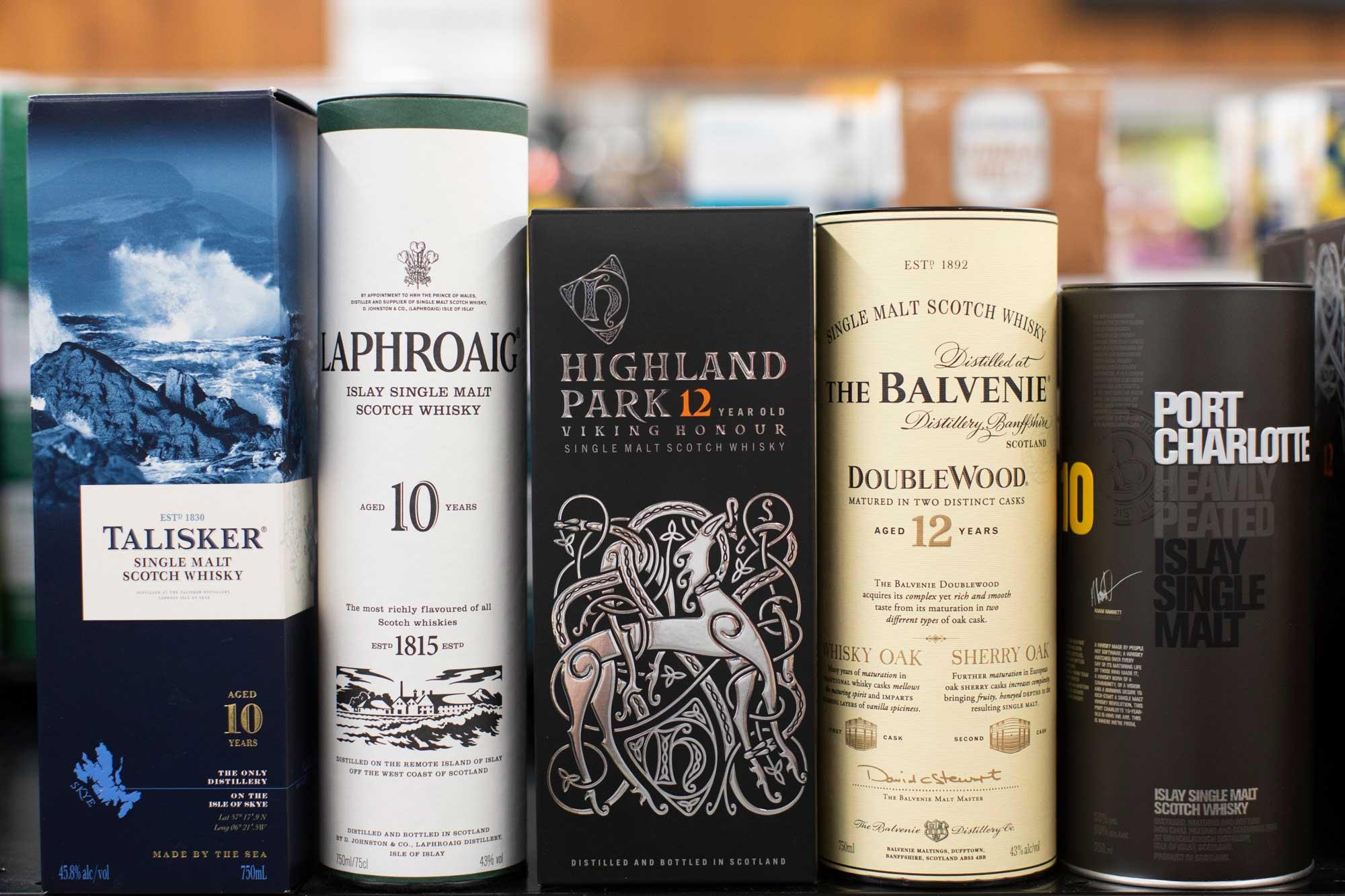 bottles of scotch on a shelf