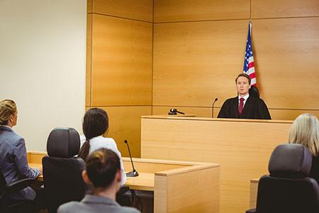 Photo of courtroom civil litigation