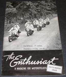 The Enthusiast Magazine December 1940 Cover Photo: The famous Baltimore Ramblers Motorcycle Club, Baltimore, Md., en route to the hillclimb which was part of the big annual rally festivities held at Richmond, Virginia, last summer.
