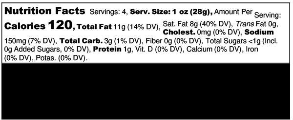 Chile Cumin Probiotic Plant Pate - Nutrition Label