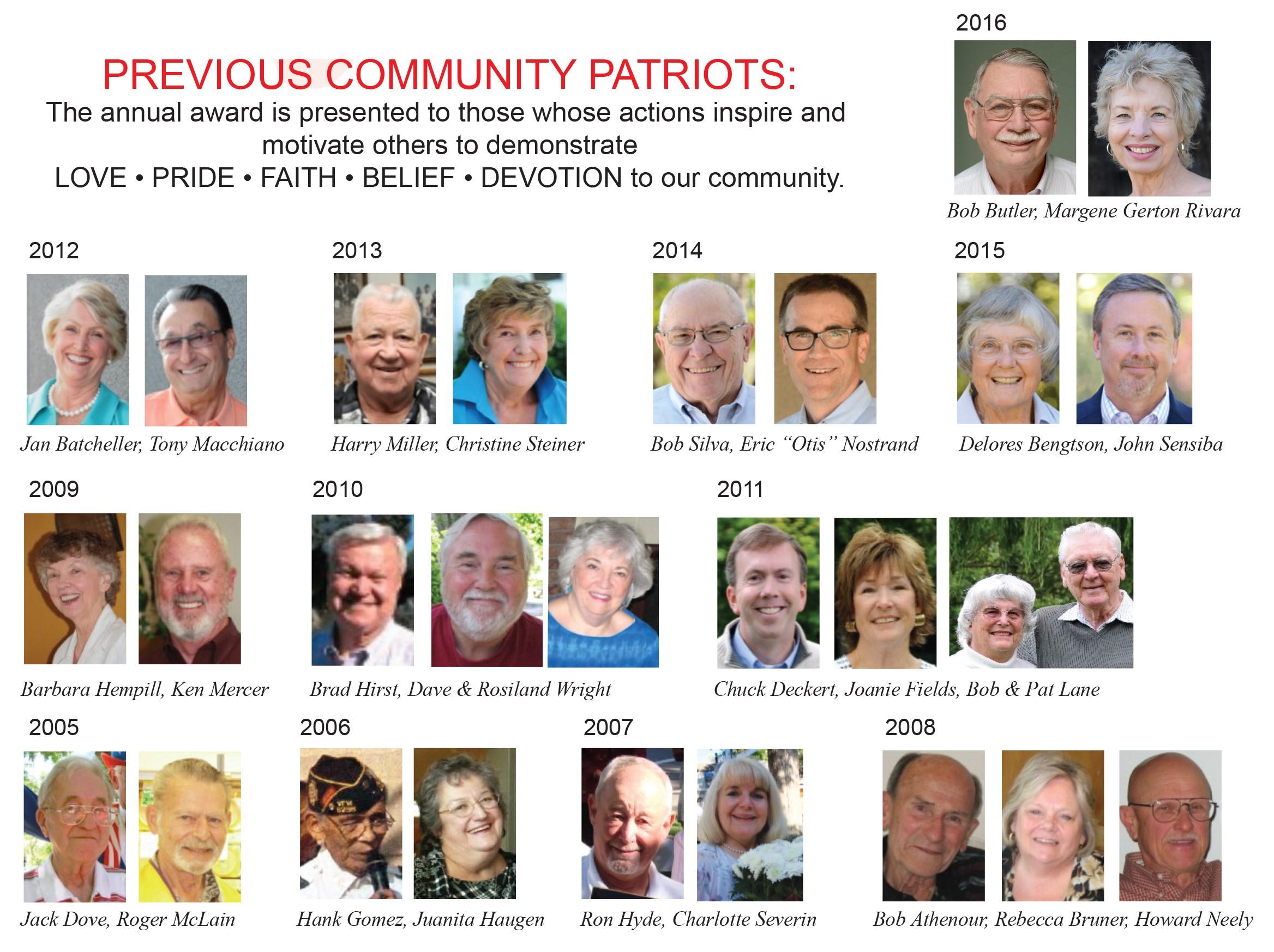 Community Partiot Award Winners past years