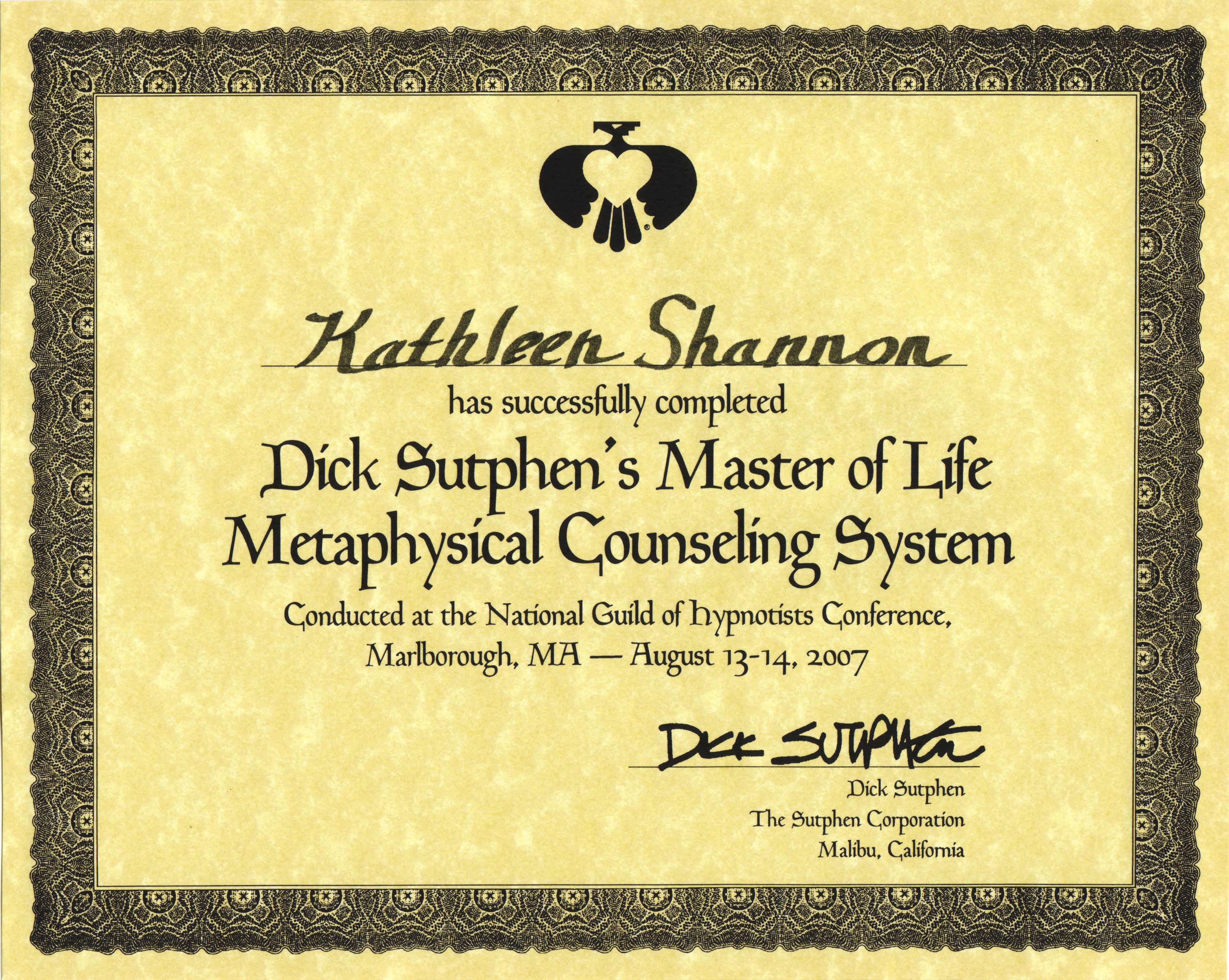 Metaphysical Counseling Certificate
