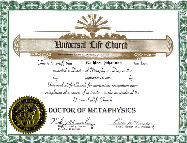 Doctor of Metaphysics certificate