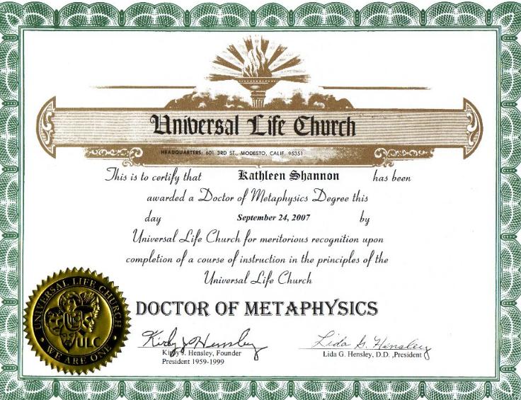 Doctor of Metaphysics certificate