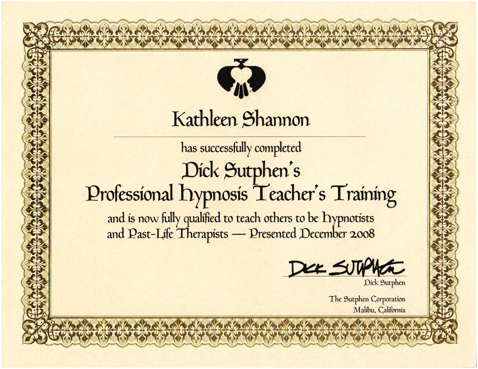 Hypnosis Instructor Certificate