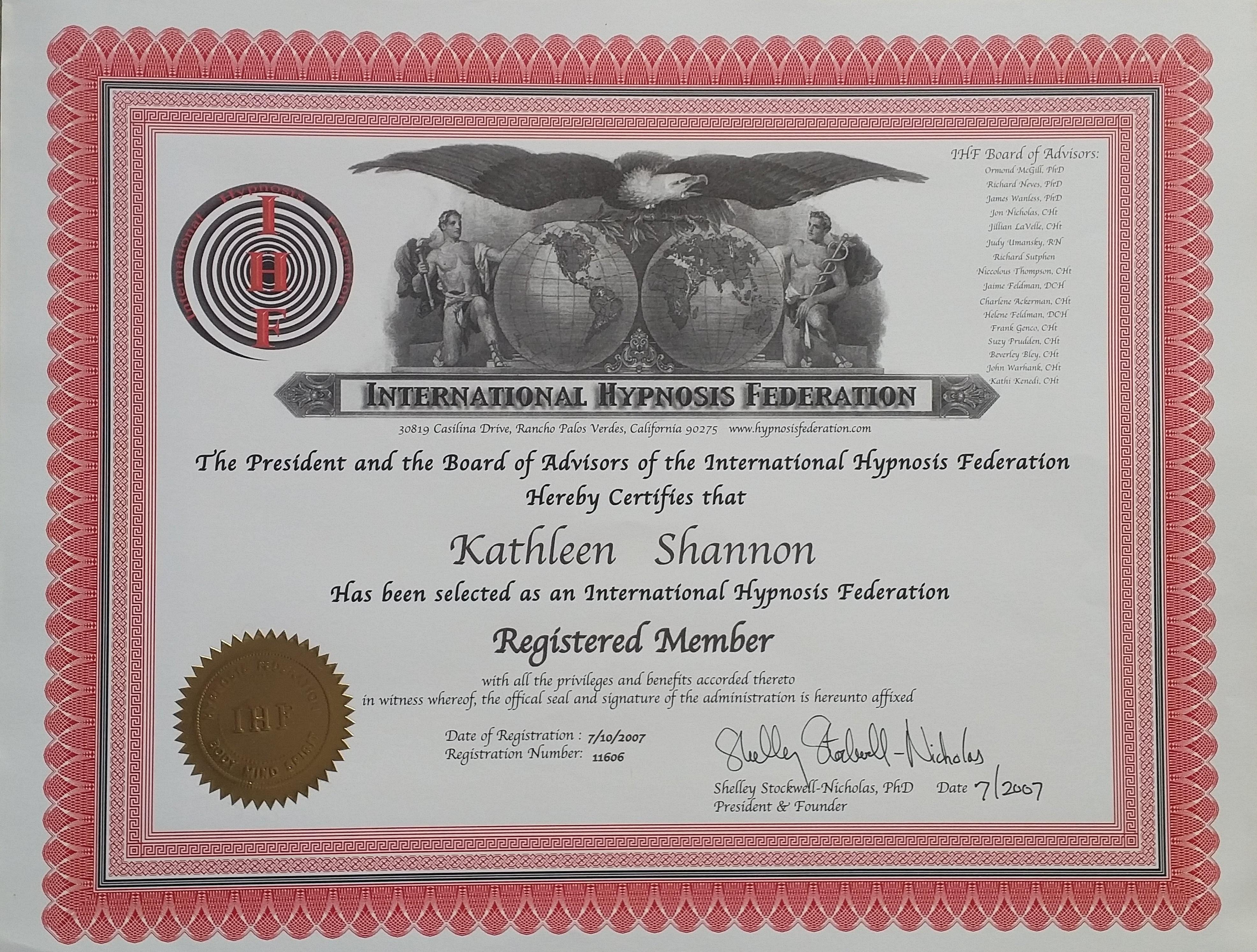 IHF certificate
