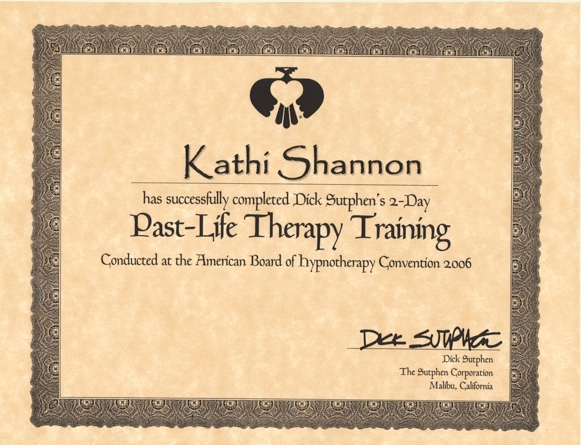 Past life therapy certificate
