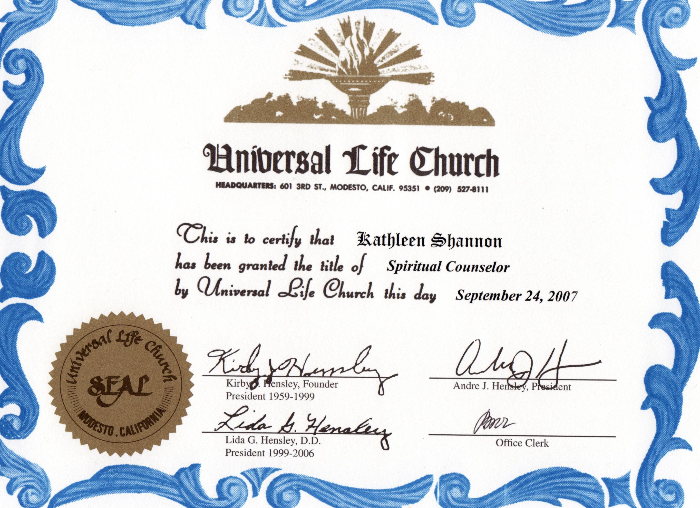 Spiritual Counselor ULC Certificate