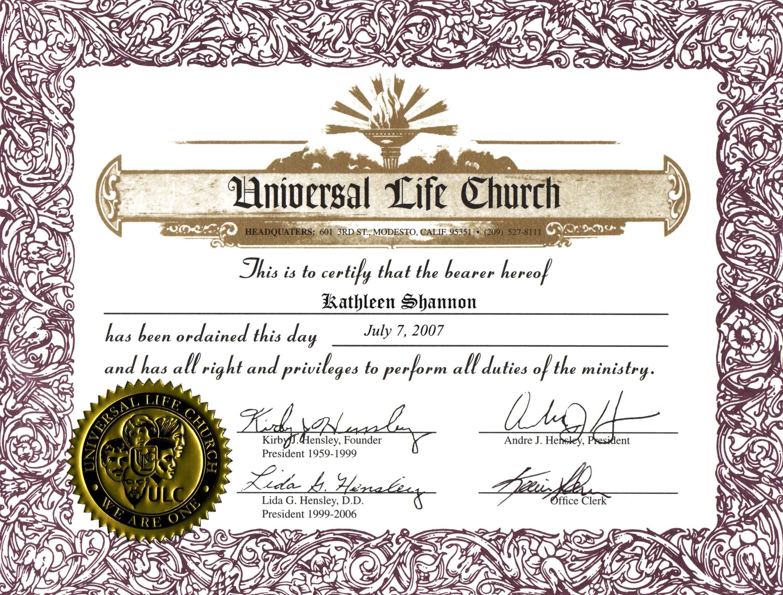 ULC Ministry certificate