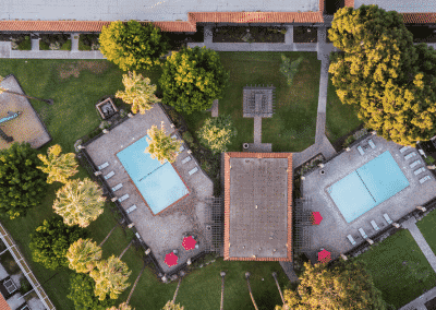 Drone overview of Pools and trees