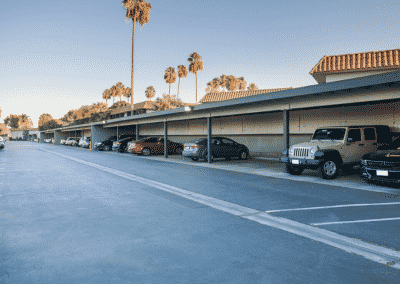 Parking lot with covered cars