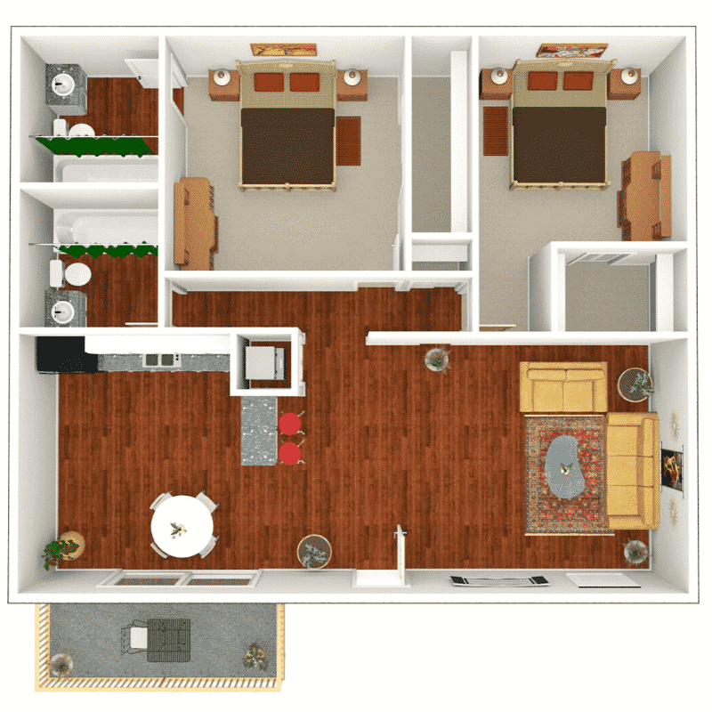 2 bed 2 bath apartment floor plan