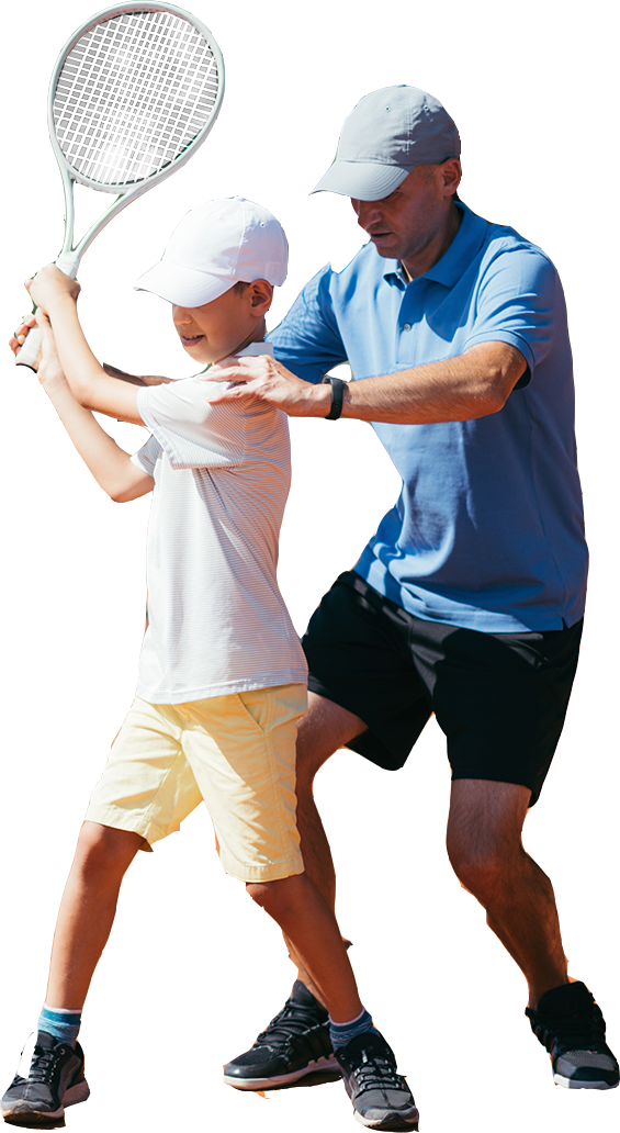 tennis instructor and student