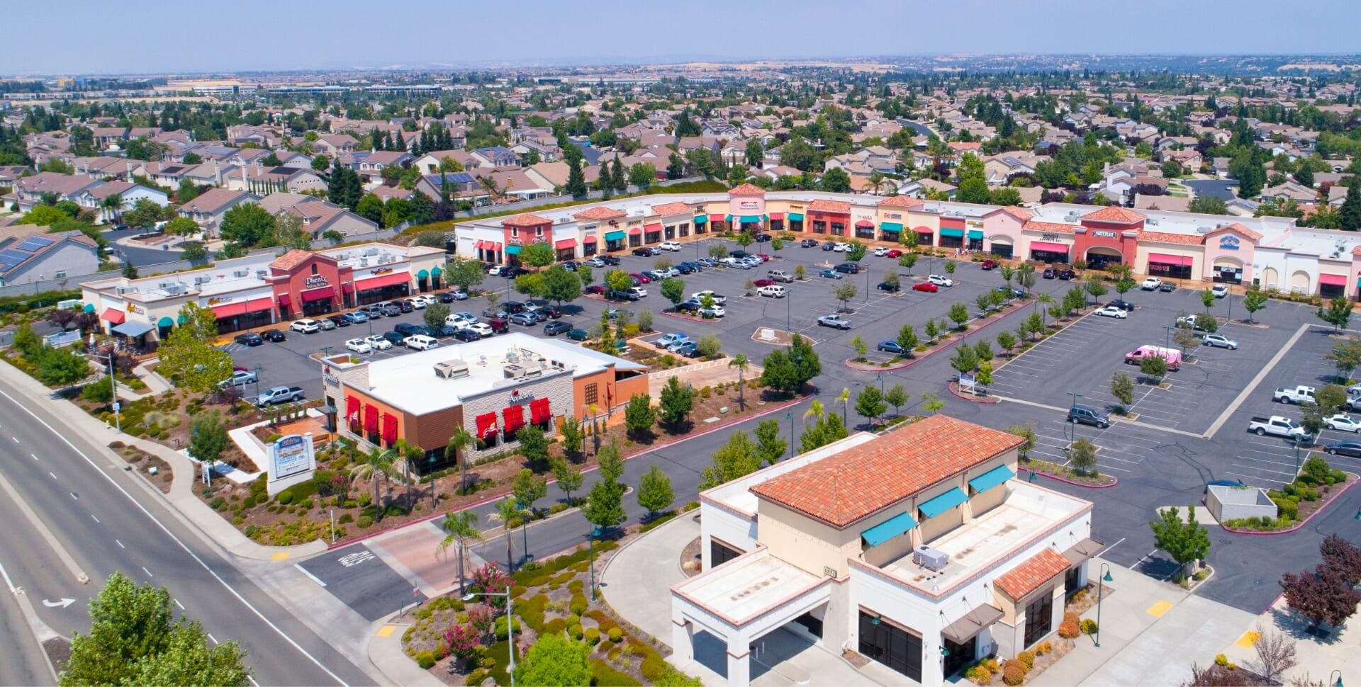 shopping center drone view