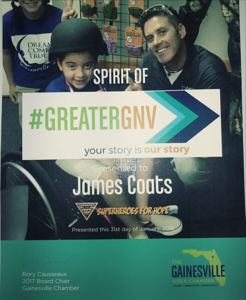 James Coats Awarded 2018 Spirit of GreaterGNV Recognition By Gainesville Chamber of Commerce