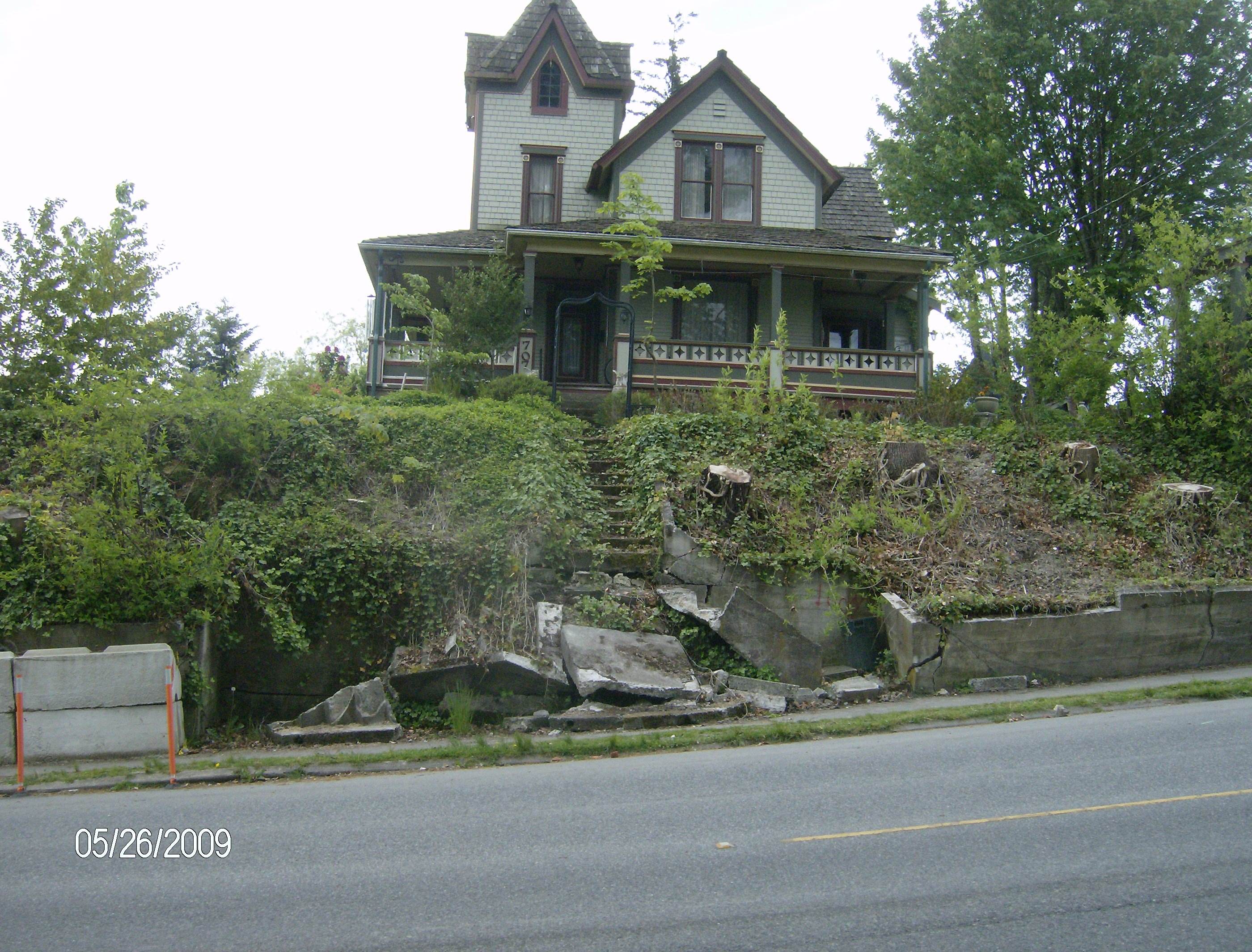 before retaining wall was fixed