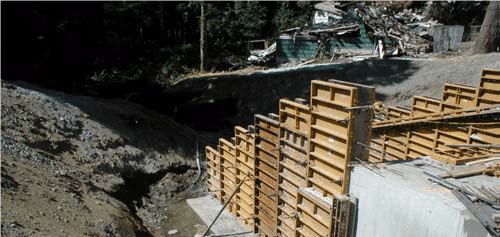 construction of 20 ft retaining walls