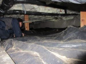 investigating crawlspace with engineer