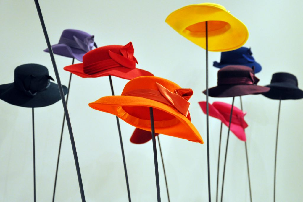 Colorful hats isolated on white background