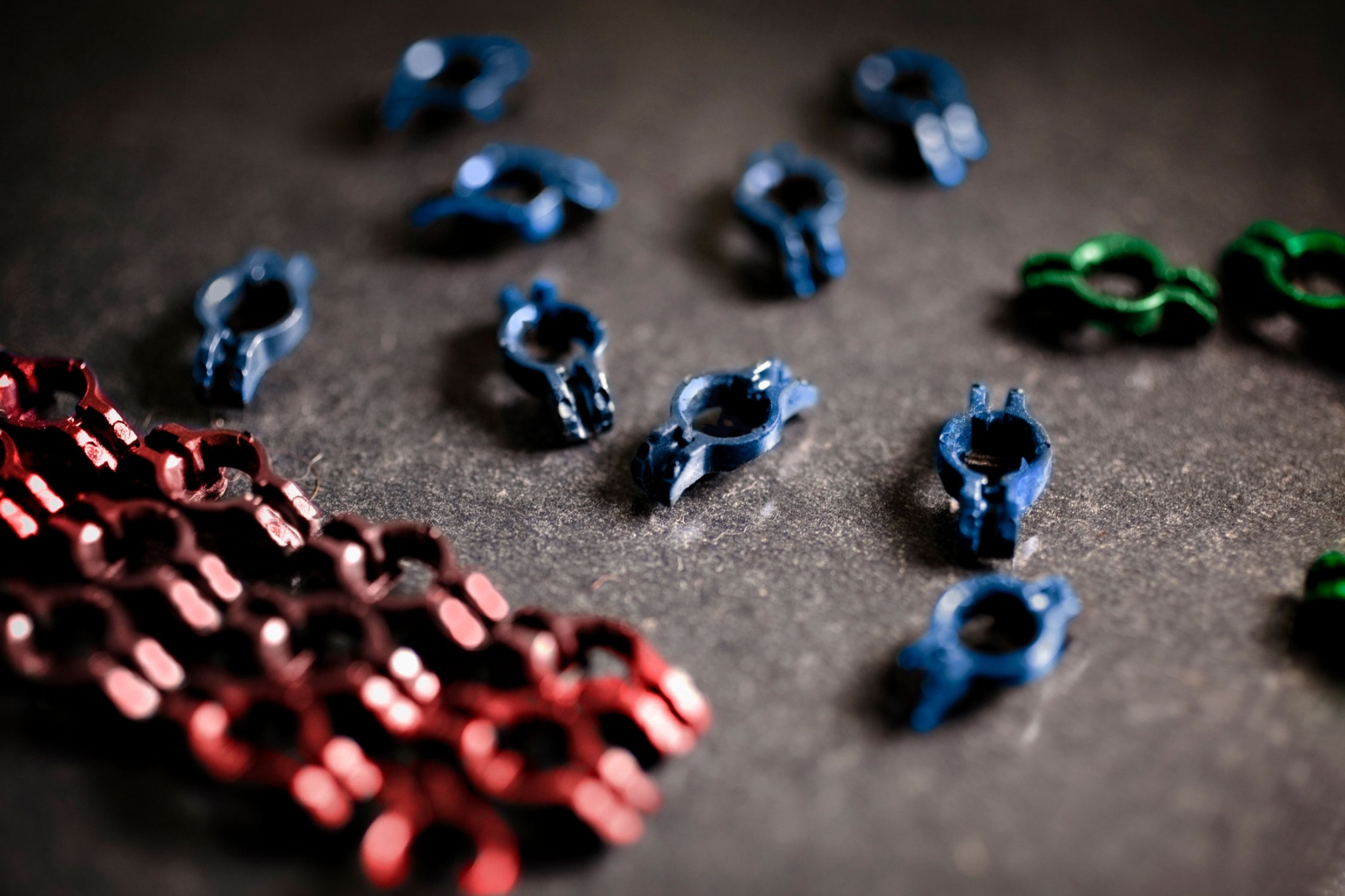 Colored plastic parts