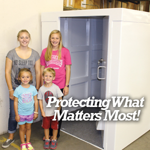 Our above ground safe rooms protect what matters most to you...your family.