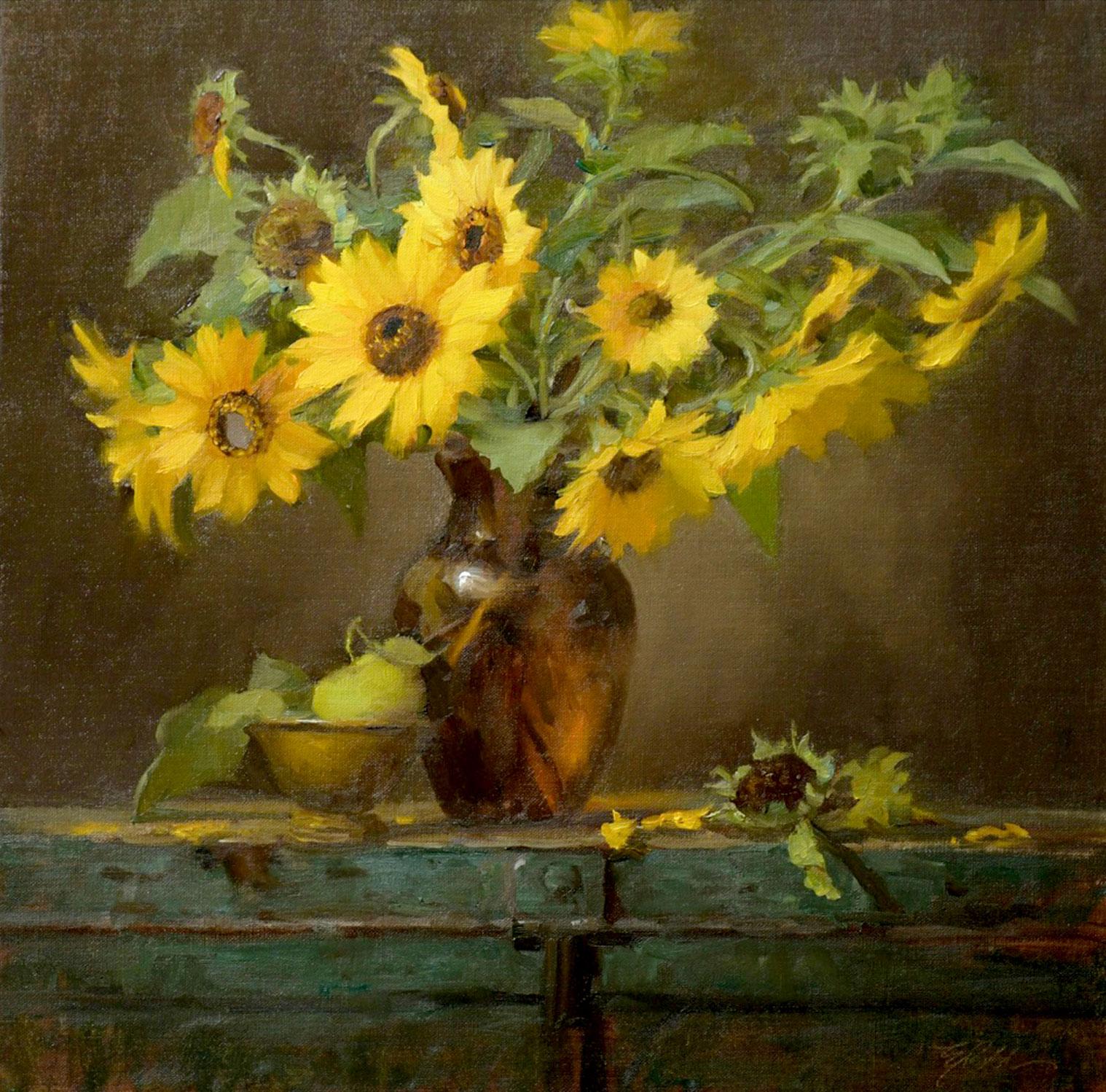 Montgomery-Lee Fine Art | Sunflowers in Amber Vase