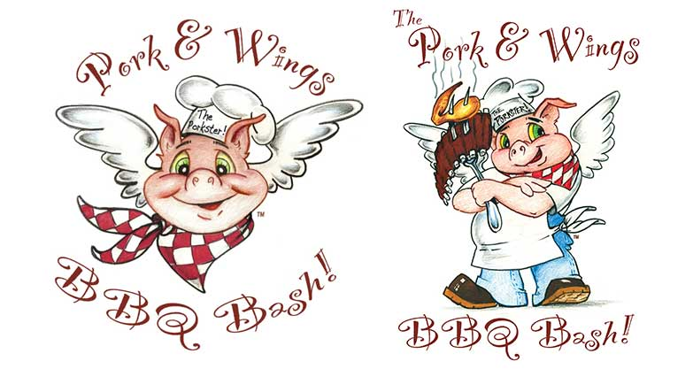 The Pork and Wings BBQ Bash logos