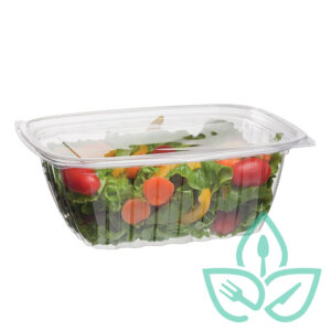 EWC Good Earth Packaging Compostable clear plastic tray with lid, salad inside