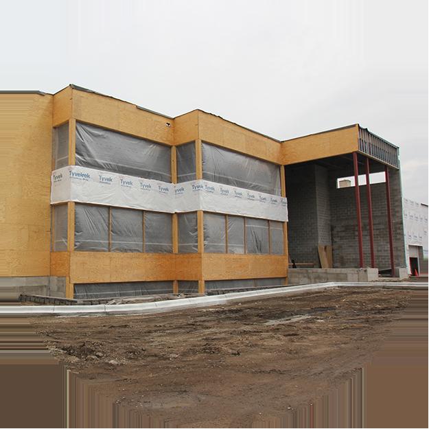 exterior view of a building under major renovation