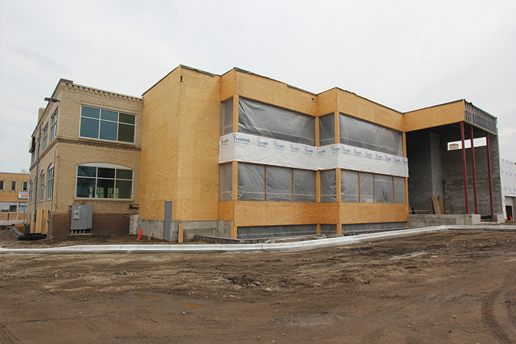 image of the new entryway at 1000 University under construction